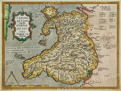 1580 Orbis Terraum Wales England Historic Vintage Style Wall Map - 18x24