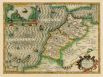 "1620s ""Morocco Africa & Canary Islands"" Vintage Style Old Map - 24x32"