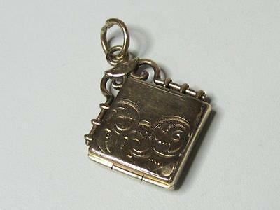 Antique Rose Gold Filled Chased Front Square Photo Locket Fob w/Mono SKM & Co