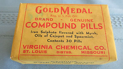 Original Unopened Box Gold Medal Compound Pills-Virginia Chemical Company-1920's