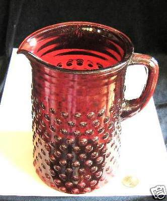 ruby red hobnail pitcher Rare and unique piece of ruby