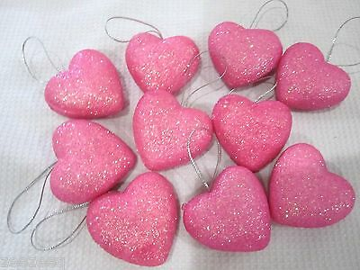 """Valentines Day Pink Glitter Hearts 1.5"""" Ornaments Decorations Decor Set of 10"""