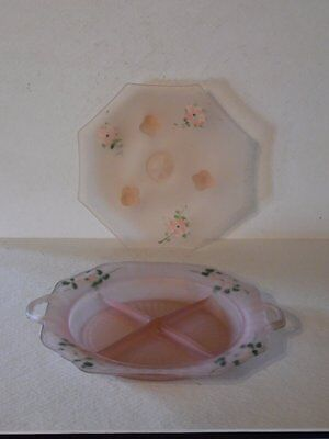 Anchor Hocking Mayfair Pink  Satin Frosted Divided Dish & Matching Tidbit Tray