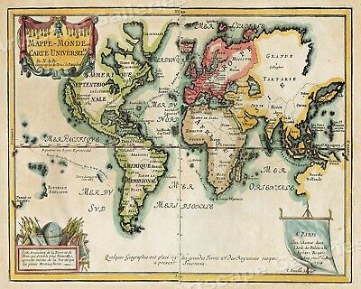 1705 Map of the World Historic Vintage Style Wall Map - 24x30