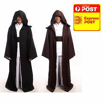 Star Wars JEDI Adult Kids Costume Child Hooded Robe Cloak Cape Party Cosplay