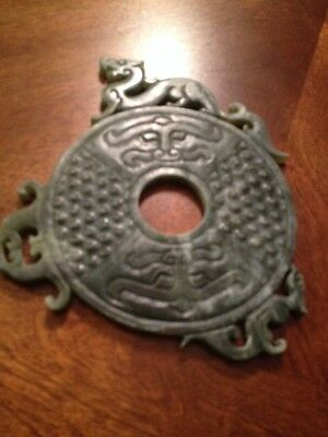 old Vintage  JADE BI disc Dragon  plaque Chinese stone carving