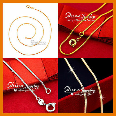24K YELLOW ROSE WHITE SILVER GOLD FILLED SNAKE CHAIN SOLID 1MM NECKLACE pendant