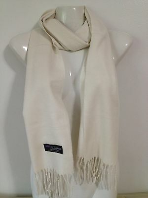 100% Cashmere Scarf Plain Design Cream Made In Scotland Super Soft