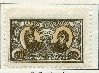 LITHUANIA;  1921 ( Central ) early issue fine Mint hinged 20f. value
