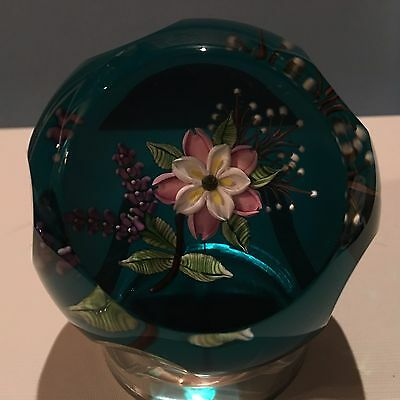 """William Manson """"Wild Rose Bouquet"""" Pink Flowers Faceted Paperweight for Caithnes"""