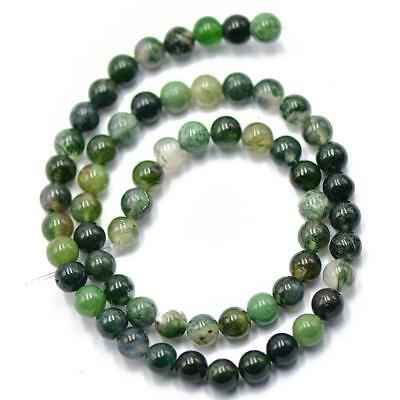 6mm Natural Green Moss Agate Gemstone Round Loose Spacer Beads Strand 15Inch