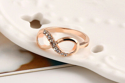 Fashion 8 Shaped Women Wedding Ring Rose Gold Plated Crystal Rings 6/7/8/9 Size
