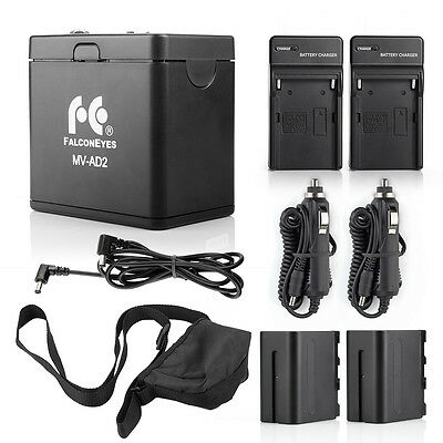 FALCONEYES NP-F970 Battery Holder +2*NP-F970 Battery +2 Pack Battery Charger