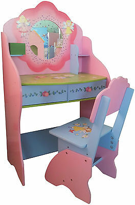 Kids Dressing Table Chair Childrens Dressing Table Fairy Furniture Wooden Pink