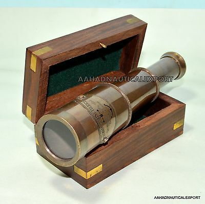6''brass Victorian 1915 Telescope With Wooden Box A Vintage Spyglass Gift