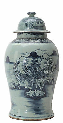 Antique Porcelain, Blue & White Jar From 1920's Beijing, FREE SHIPPING