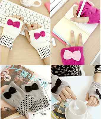 Fingerless Cute Bow Design Knitted Gloves