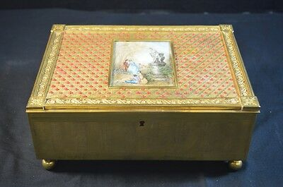 Antique Gilt Bronze Box with Miniature Painting in Lid and Stones