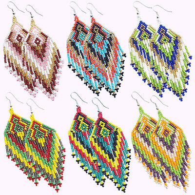 Multicolor hand Beaded Earrings Wholesale Lot 6 Pair Non Native Beadwork 38/WL11