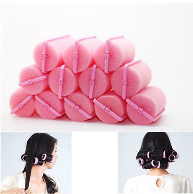 NEW 12Pcs Magic Sponge Foam Cushion Hair Styling Rollers Curlers Twist Tool