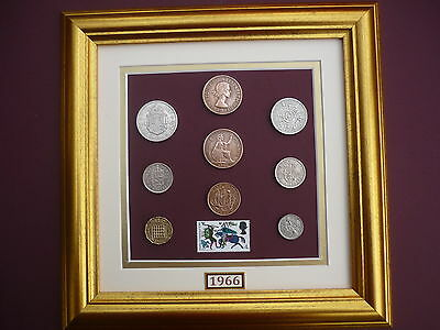 FRAMED 1966 COIN SET WITH 1966 BATTLE OF HASTINGS STAMP 50th BIRTHDAY GIFT