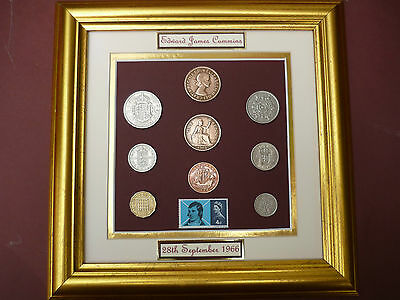 PERSONALISED 1966 COIN SET WITH ROBBIE BURNS STAMP 50th BIRTHDAY GIFT IN 2016