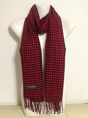 Cashmere Scarf Houndstooth Design Red Color Super Soft