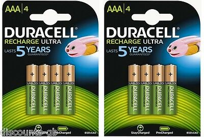 8 x Duracell AAA Ultra Rechargeable Accu HR03 850 mAh AAA Batteries -2 Pack of 4