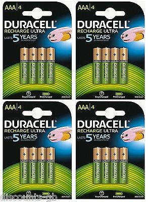 16 x Duracell AAA Ultra Rechargeable Accu HR03 850 mAh AAA Batteries 4 Pack of 4