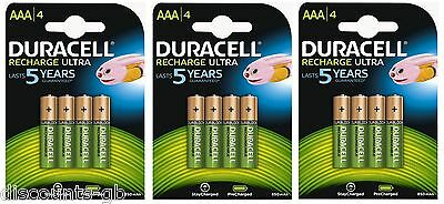 12 x Duracell AAA Ultra Rechargeable Accu HR03 850 mAh AAA Batteries 3 Pack of 4