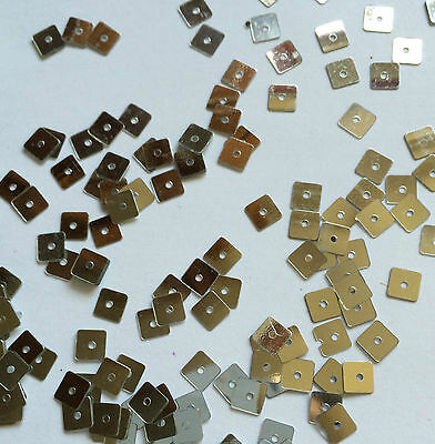 QTY Approx 500 x Silver Coloured Square Shape SEQUINS - Size 5x5mm Approx.