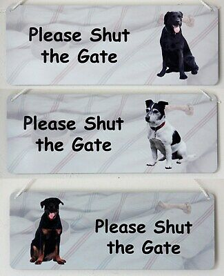 Please Shut the Gate Garden Gate Dog Sign Breeds from Afghan to Labrador