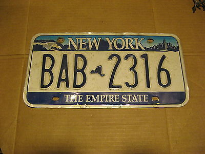 New York Ny Blue Sky Graphic  License Plate Nice One