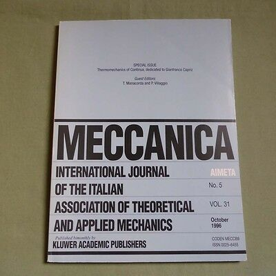 Meccanica 31_5 1996_Theoretical & Applied Mechanics_Thermomechanics of Continua