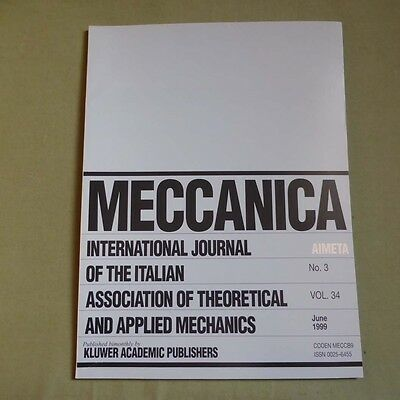 Meccanica 34_3 1999_International Journal of Theoretical and Applied Mechanics