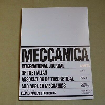 Meccanica 34_4 1999_International Journal of Theoretical and Applied Mechanics