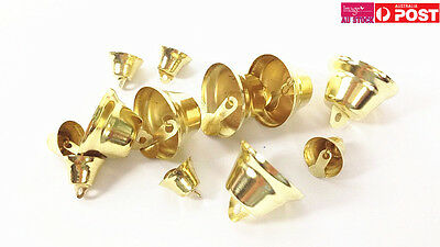4x Pack of 12 Assorted Craft Bells Gold DIY Jewellery Jingle Charms CMB12