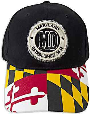 Maryland State Stamp Flag Hat with Adjustable Strap