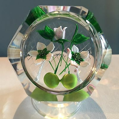 """Caithness """"Crab Apple"""" Flowers & Fruit Paperweight LE Allan Scott New In Box COA"""