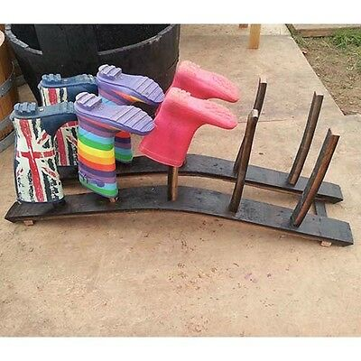 Recycled Solid Oak Whisky Barrel Stave Wellington Boot Rack