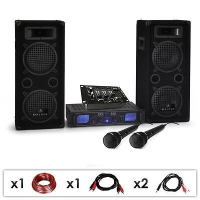 COMPLETE DJ PA 1600W DISCO PARTY SYSTEM AMP SPEAKERS CABLES USB MIXER 2x MIC SET
