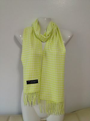 100% Cashmere Scarf Houndstooth Design Yellow Made In Scotland Super Soft