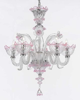 Clear Hand Blown Murano Venetian Style Crystal Chandelier Lighting!  *CLOSE OUT*