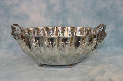 """Antique 41"""" Circumference Large silver plate pierced and footed fruit bowl"""