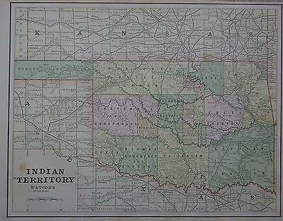 1891 Indian Territory Color Atlas Map ... Reservations, Agencies, Stage Station
