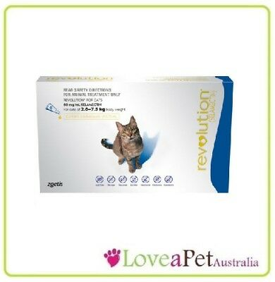 Revolution Flea And Worm Treatment For Cats (BLUE) 2.6 - 7.5kg  - Long Expiry