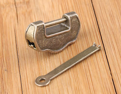 Chinese Vintage Antique old style lock/key excellent Brass Carved Word padlock