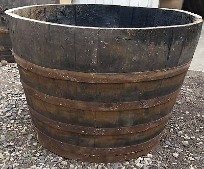 Recycled Rustic Solid Oak Half 500L Whisky Barrel Planter | Garden Ornament
