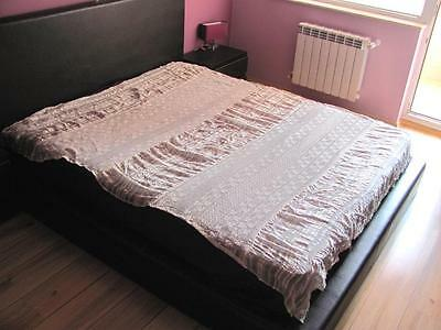 19C. Hand Crochet Doily Silk Kenar & Lace Bed Spread Cover