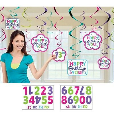 Pink & Teal Customisable Happy Birthday Party Swirls Decoration Pack Of 12